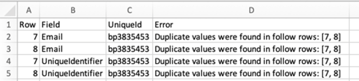 CSV of error messages and rows afflicted