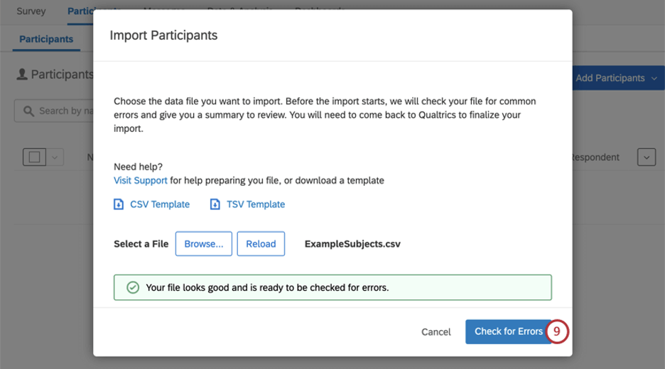"""File has no errors - message in green stating as such, """"check for errors"""" button becomes blue and is clickable"""