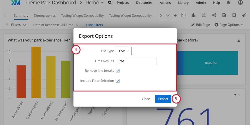Export Options window opens