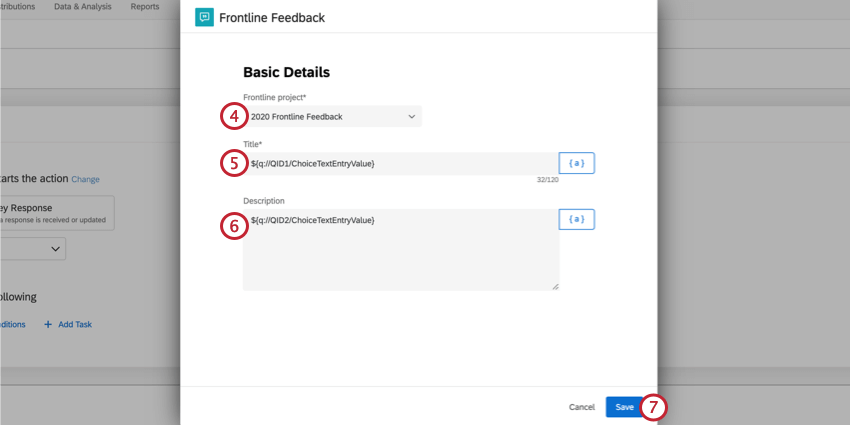 setting up the frontline feedback task by selecting the project and filling out the title and description