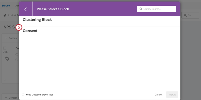 choosing a block to import from the library