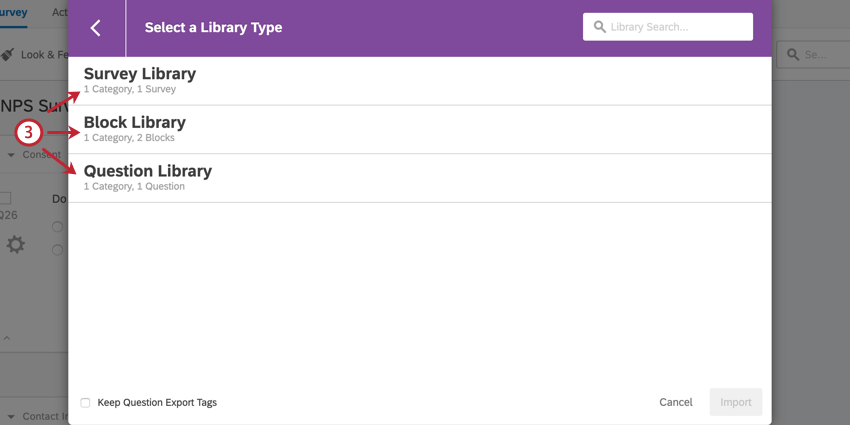 selecting what type of content to import
