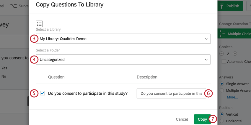 selecting which questions from a block to copy to a the library