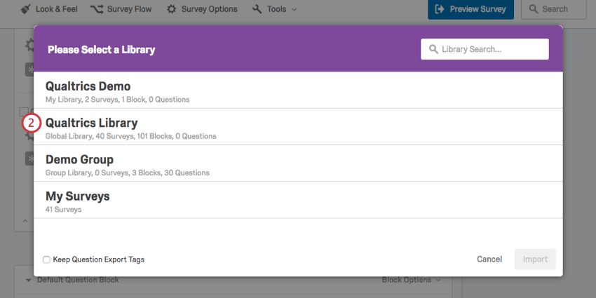selecting the qualtrics library