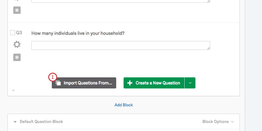 the import questions from button