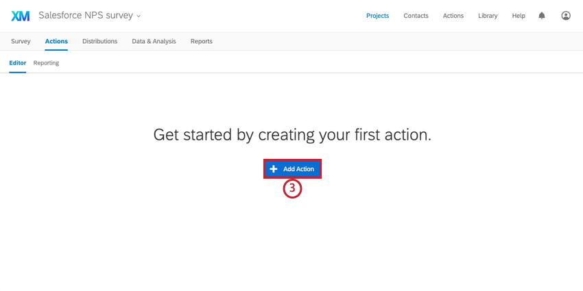 the add action button for creating a new action