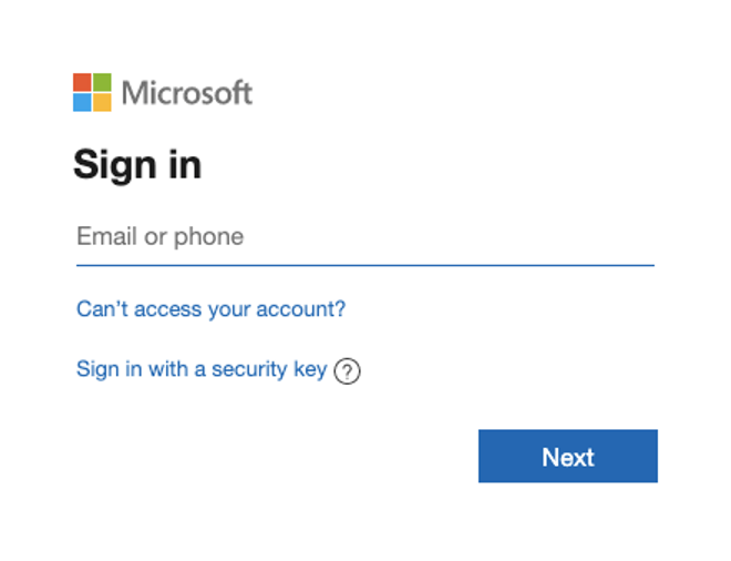 Microsoft login window