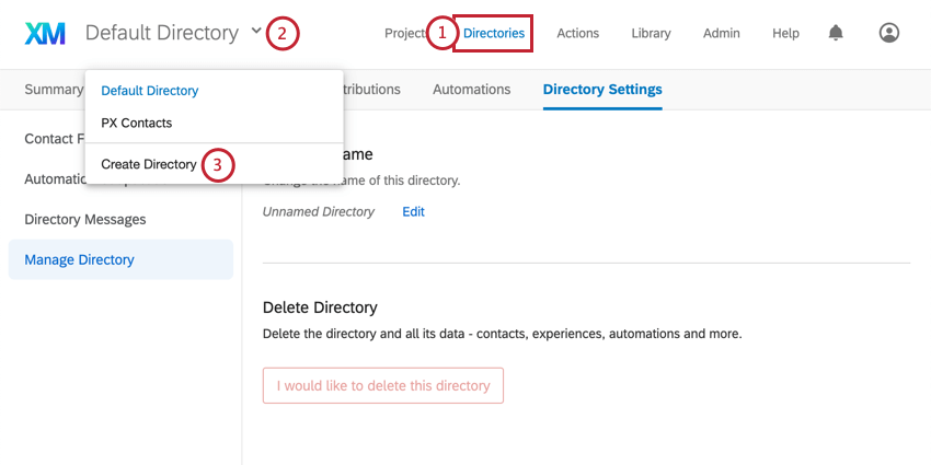 Clicking toolbar top-left and selecting last option, Create Directory in blue