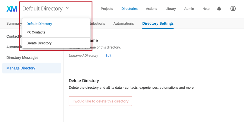 Selecting directories from top dropdown