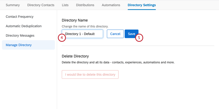 Entering name in field and clicking blue Save