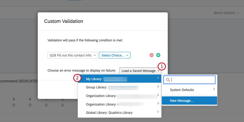 creating a new validation message. select your personal library, then click New message