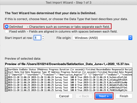 Text import wizard and delimited option