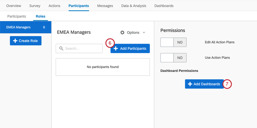 Button for adding participants, center. Right, button for adding dashboards