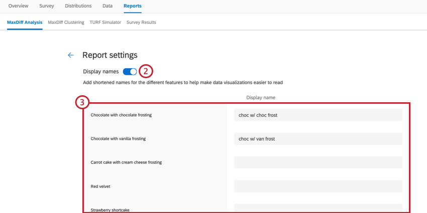 the report settings of a maxdiff report