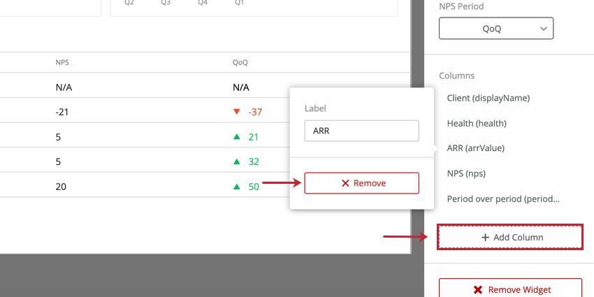the remove option to remove a column from the widget
