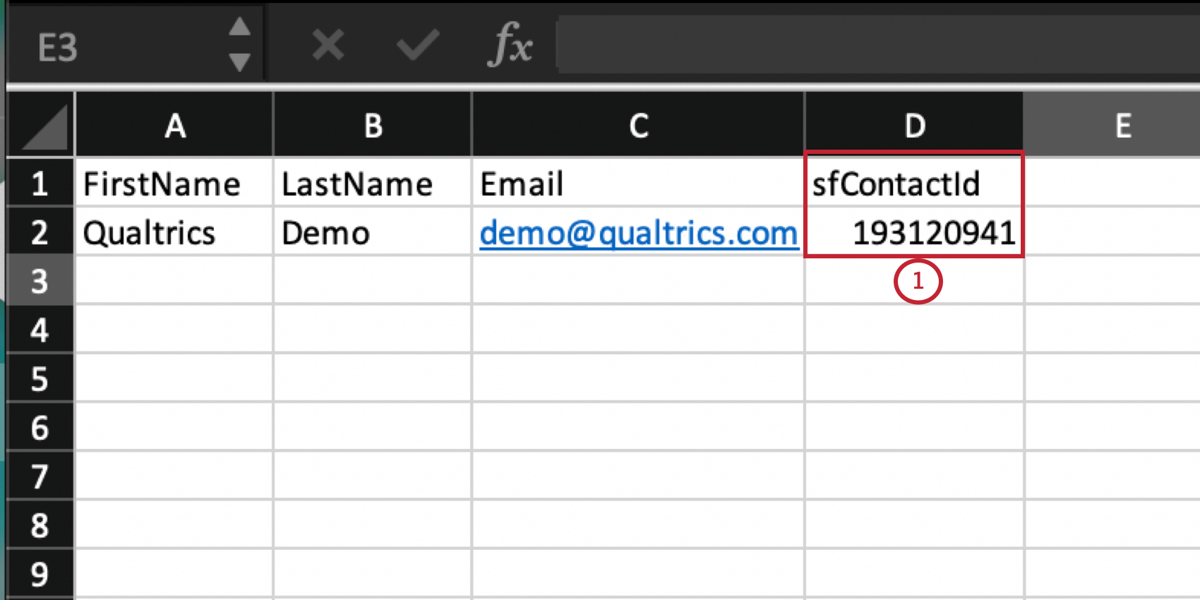 an excel spreedsheet with a column for sfContactId
