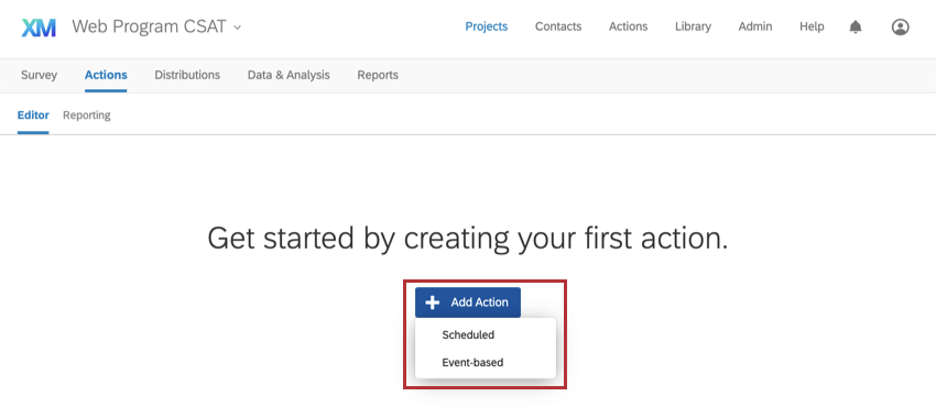 In actions tab, clicking create action makes a dropdown with two options appear: scheduled and event-based