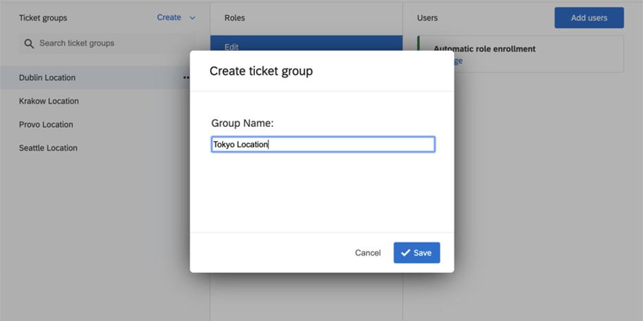 Create ticket group window