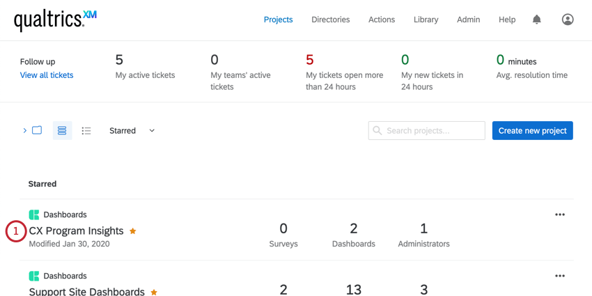 Dashboard project on the projects page
