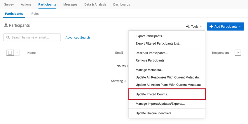 the update invited counts option in the participant tools menu