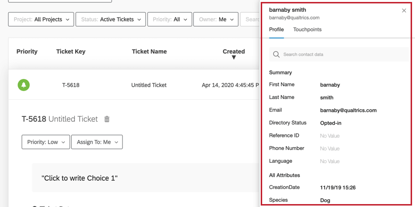 the customer activity window on a ticket