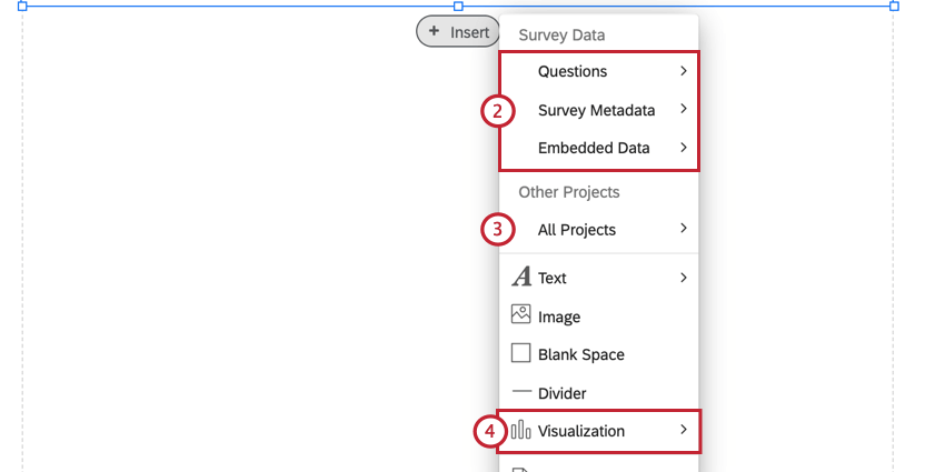 the menu for selecting what type of content to insert for a visualization