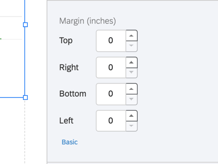the advanced margin options for changing the margin on each side of the visualization