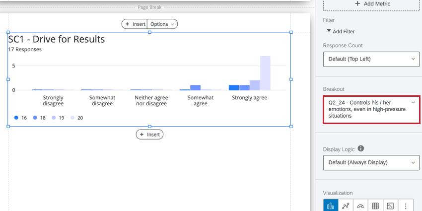 the breakout option in the visualization editing window