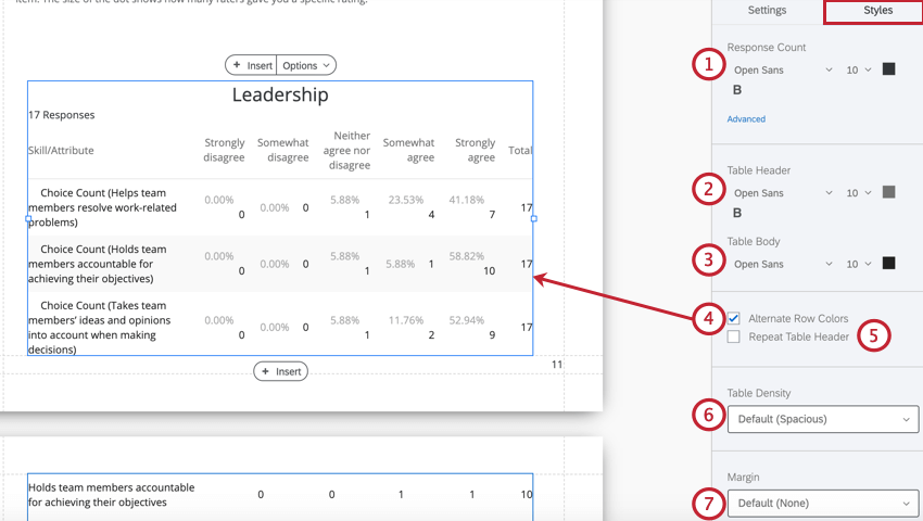 the style tab when editing a data table visualization