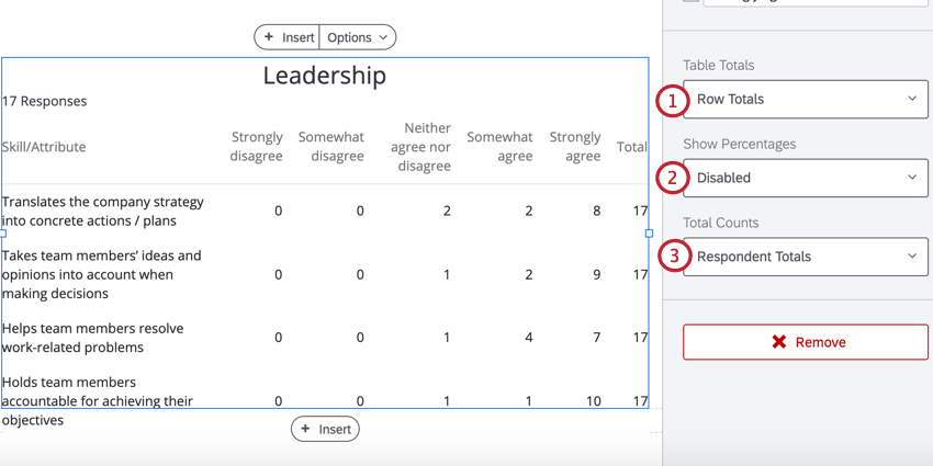 the table total options in a data table visualization