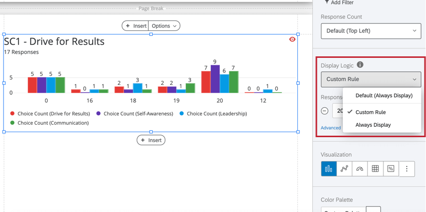 the display logic option in the visualization editing window