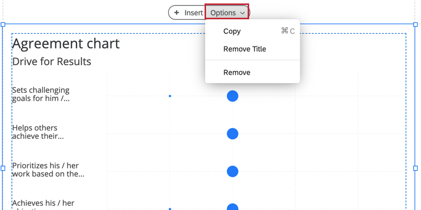 the options menu for a visualization