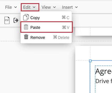 the edit menu in the menu bar with paste selected