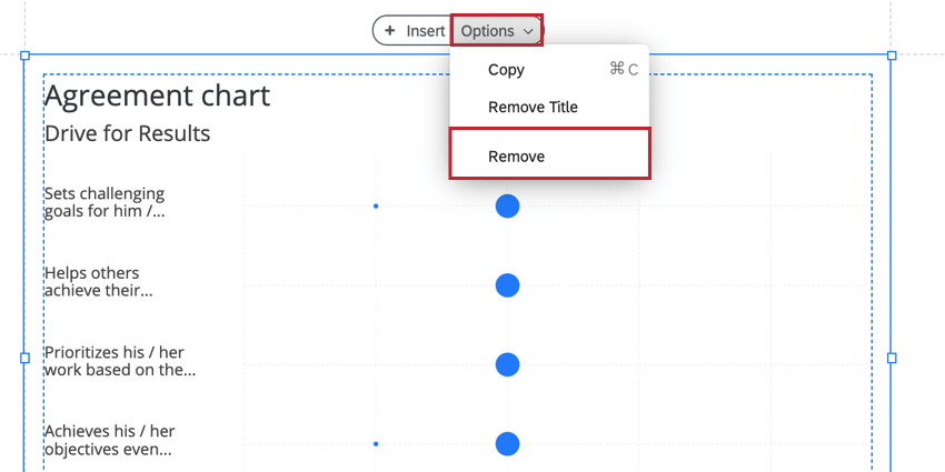 removing a visualization by clicking options and then remove