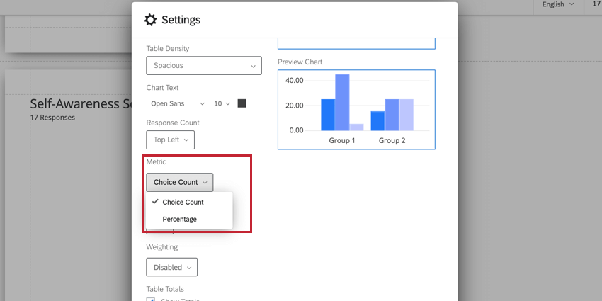 the metric dropdown for determining the default metric in visualizations