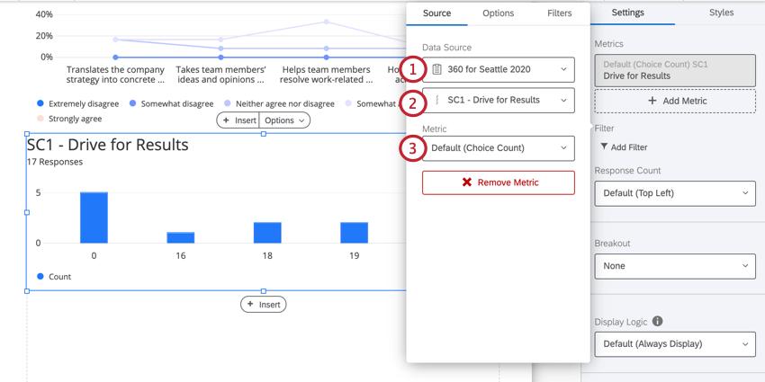the data source dropdown menu in the visualization editing window