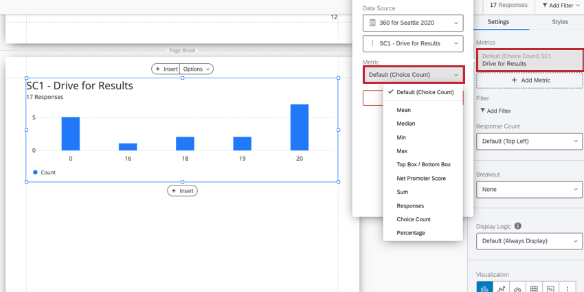 the metric selection dropdown in the visualization editing window