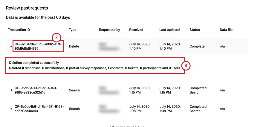 Transaction ID column with ID that starts with OP