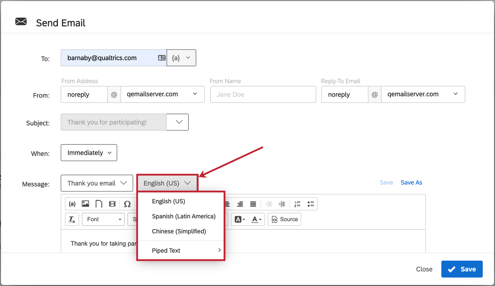 Dropdown next to message line expanded to show translation and piped text options
