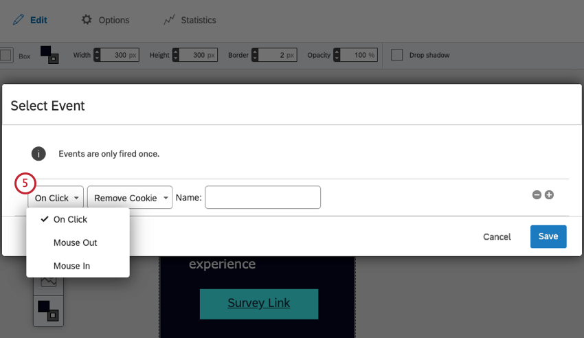 First field is dropped down to reveal On Click, mouse out, and mouse in options