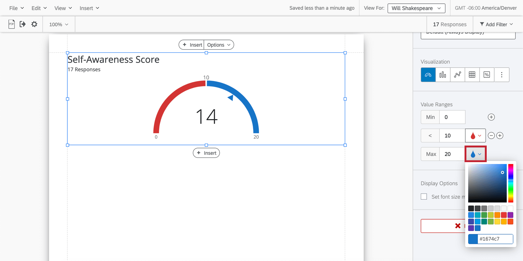 editing a gauge chart with the drop icon highlighted for changing range colors