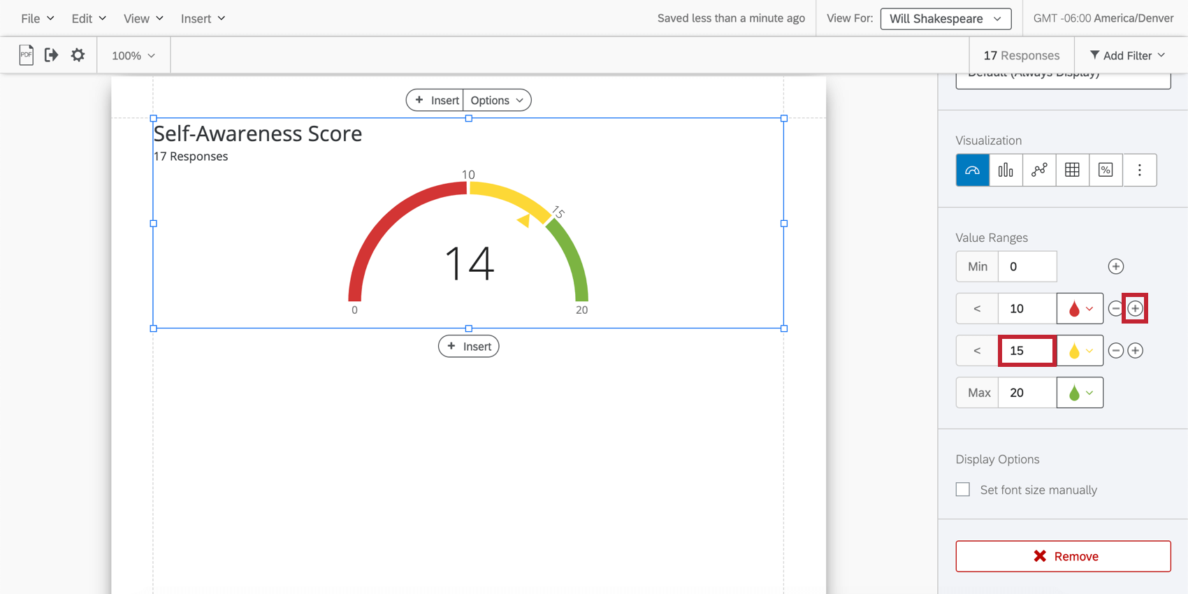 editing a gauge chart with the plus sign and new range highlighted