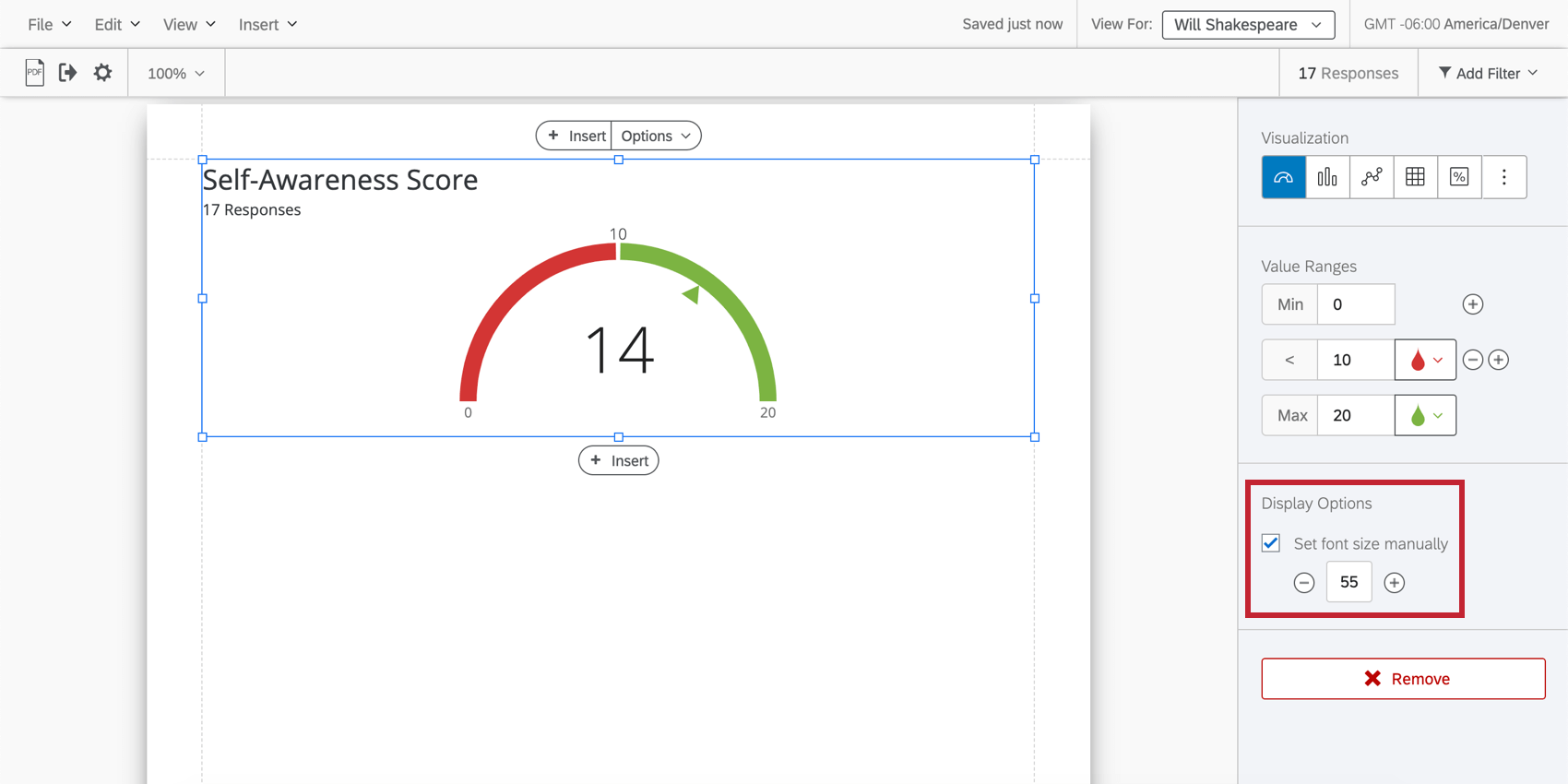 editing a gauge chart with the set font size manually setting highlighted