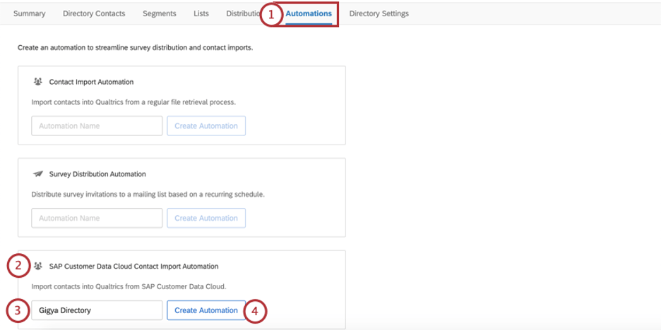 Automations tab, third option on page is SAP Customer Data Cloud Import Automation