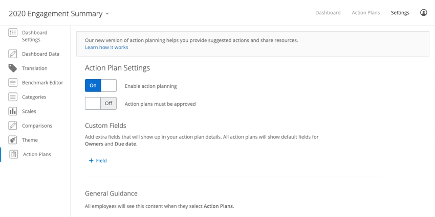 Guided Action Planning in the Dashboard Settings