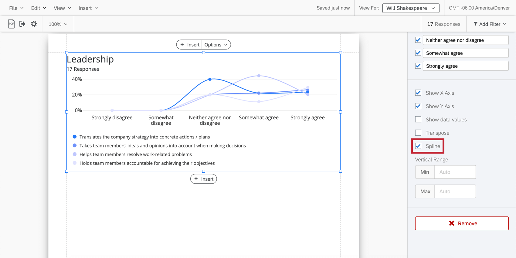 spline is selected and the line chart has rounded corners