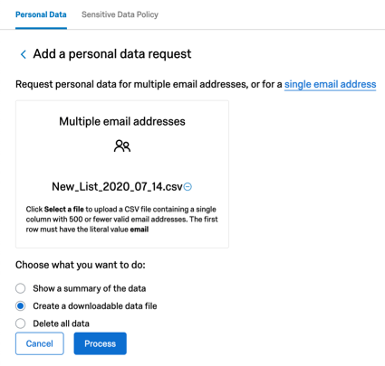 When multiple email addresses is clicked, you can upload a file instead