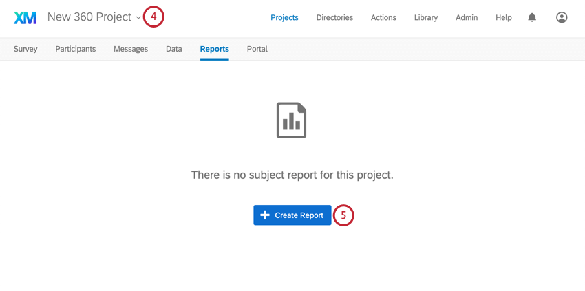 Create Report button blue, center of page