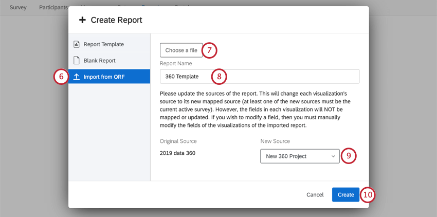 Create report window opens. To left, import from QRF is selected. Because a file has been selected, there is a field for naming the report, an explanation of the need to establish a new data source, and a dropdown for selecting that data source