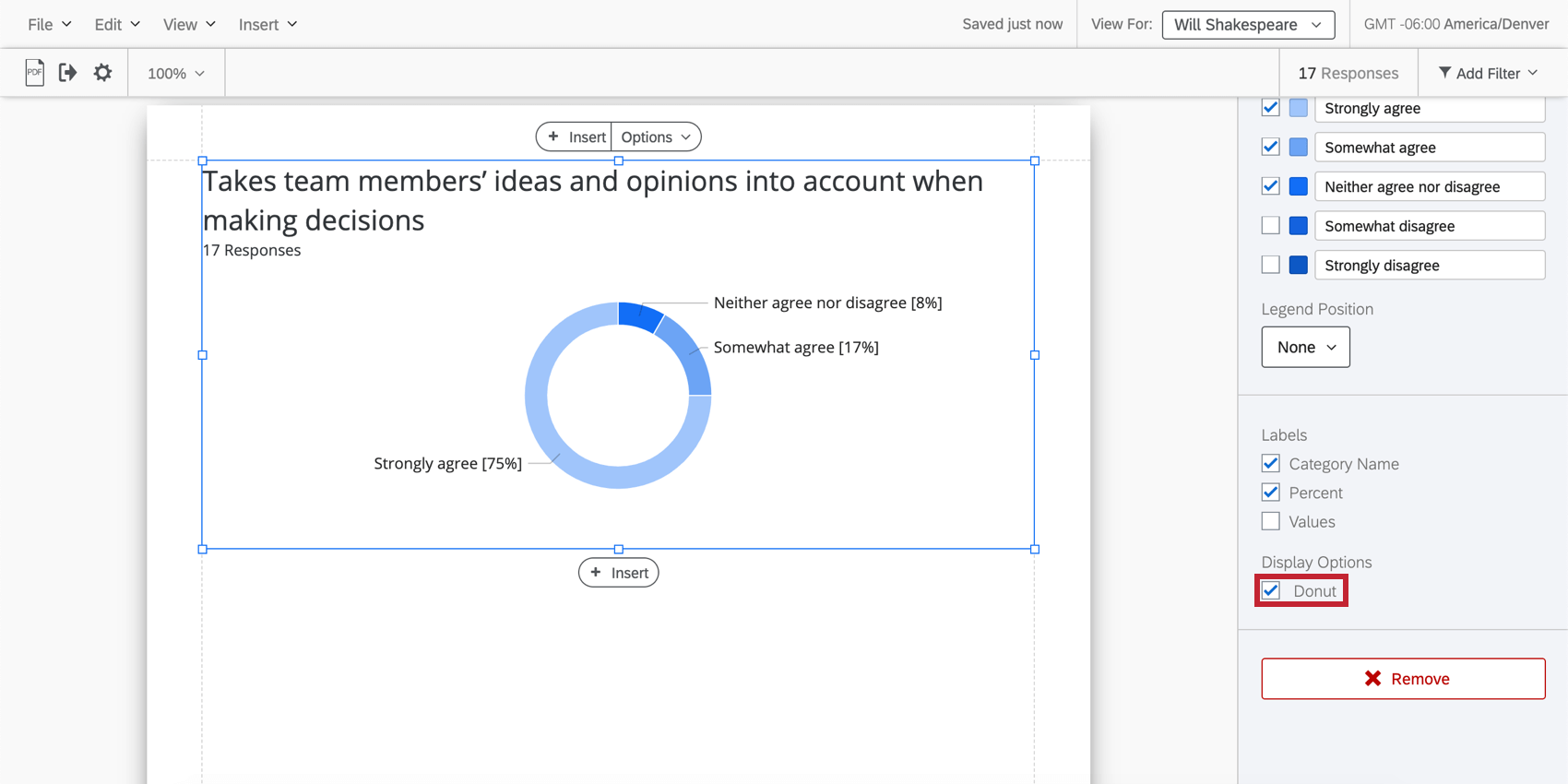 pie chart has a hole in the middle